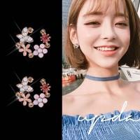 Girls Flower Round Decoration Earrings - Purple Pink