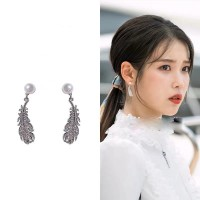 Girls Pearl Leaf Decoration Earrings - Silver