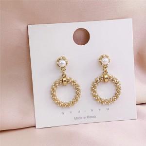 Girls Pearl Round Fashion Earrings - Golden