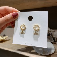 Girls Pearl Mermaid Tail Fashion Earrings - Golden