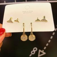 3 Pairs Girls Mermaid Tail Fashion Earrings Set - Golden