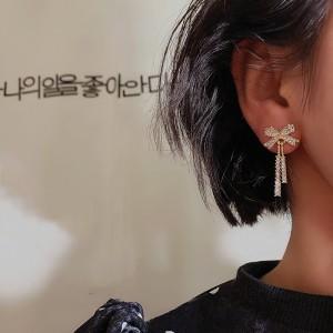Girls Rhinestone Bow Tassel Fashion Earrings - Golden