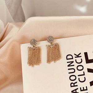 Girls Rhinestone Shiny Tassel Fashion Earrings - Golden