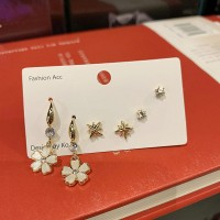 3 Pairs Girls Flower Crystal Fashion Earrings Set - Golden