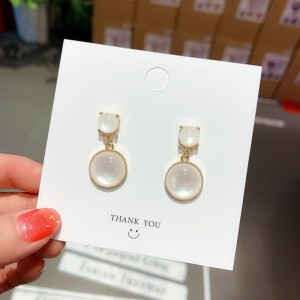 Girls Opal Round Fashion Earrings - White