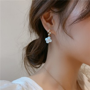 Girls Crystal Leaf Flower Fashion Earrings - White Gold