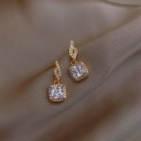 Girls Crystal Rhinestone Square Fashion Earrings - Golden