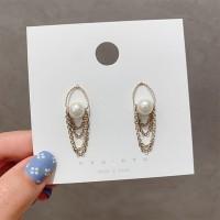Girls Pearl Multi Chain Fashion Earrings - Golden