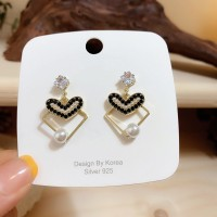 Girls Pearl Heart Alloy Fashion Earrings - Multi Color
