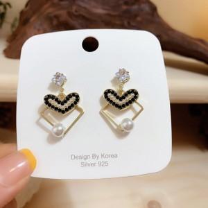 Girls Pearl Heart Alloy Fashion Earrings - Multi Color