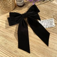 Elegant Party Wear Bow Patched Hook Hair Clip - Black