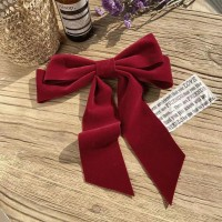 Elegant Party Wear Bow Patched Hook Hair Clip - Red