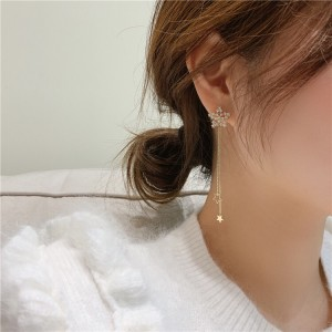 Girls Star Tassel Alloy Fashion Long Earrings - Golden