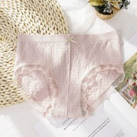 Lace Patched Sexy Wear Thin Fabric Underwear - Pink