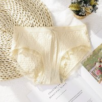 Lace Patched Sexy Wear Thin Fabric Underwear - Beige