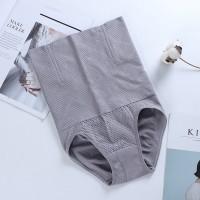 Nylon Stretchable High Waist Belly Slim Underwear - Gray