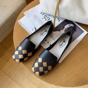 Patchwork Fancy Formal Wear Flat Shoes - Black Golden