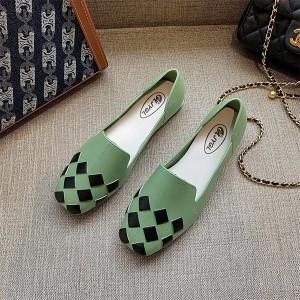 Patchwork Fancy Formal Wear Flat Shoes - Green