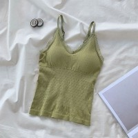 Cross Strap Push Up Padded Casual Wear Bra Top - Green