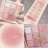 Party Glittery Women Face Makeup Eye Shadow Palette - Light Shades