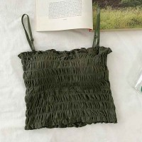 Ruffled Strapped Shoulder Padded Casual Wear Top - Green