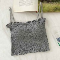 Ruffled Strapped Shoulder Padded Casual Wear Top - Gray