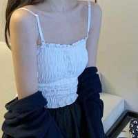 Ruffled Strapped Shoulder Padded Casual Wear Top - White