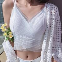 Thin Fabric Cross Style Mesh Pattern Top - White
