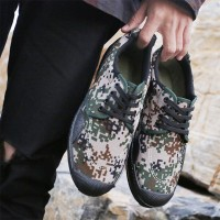 Camouflage Printed Lace Closure Unisex Flat Shoes - Multicolor