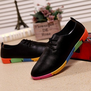 Colorful Patched Sole Fancy Wear Pointed Flat Shoes - Black