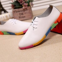 Colorful Patched Sole Fancy Wear Pointed Flat Shoes - White