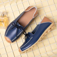 Synthetic Leather Slip Over Stitched Lace Flat Shoes - Blue