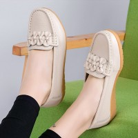 Ruffled Bow Slip Over Casual Wear Flat Shoes - Beige