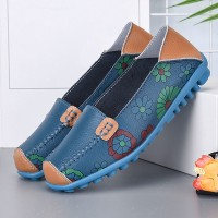 Floral Slip Over Casual Wear Flat Shoes - Blue