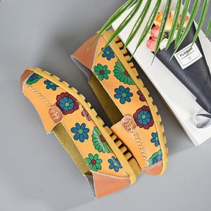 Floral Slip Over Casual Wear Flat Shoes - Yellow