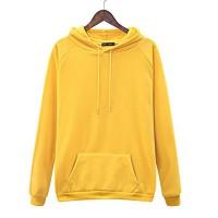 Duo Pocket Full Sleeves Winter Hoodie Top - Yellow