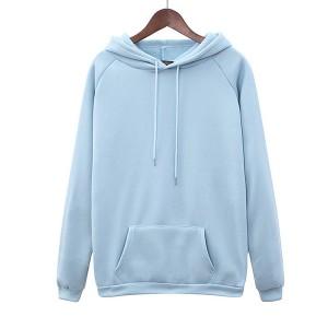 Duo Pocket Full Sleeves Winter Hoodie Top - Blue
