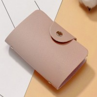 Titch Button Pull Over Plain Women Pocket Card Wallet - Pink