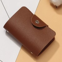 Titch Button Pull Over Plain Women Pocket Card Wallet - Brown