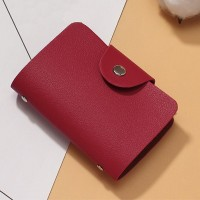 Titch Button Pull Over Plain Women Pocket Card Wallet - Wine Red
