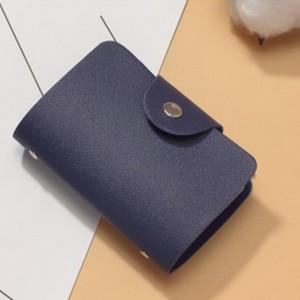 Titch Button Pull Over Plain Women Pocket Card Wallet - Blue