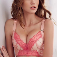 Embroidered Comfortable Gathering Deep V Women Bra Without Steel Ring - Pink