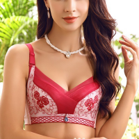 Embroidered Comfortable Gathering Deep V Women Bra - Wine Red