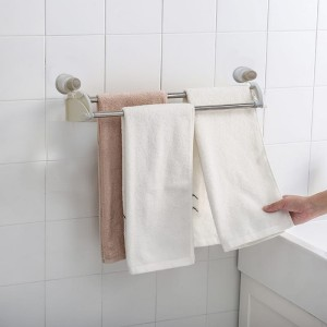 Wall Attachable Strong Suction Cup 2 Pole Towel Cloth Hanger - Silver