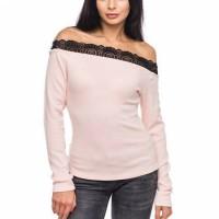Lace Textured Off Shoulder Full Sleeves Elegant Tops - Pink