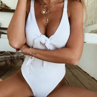 Knotted Body Fitted Sleeveless Beach Wear Bodysuit - White