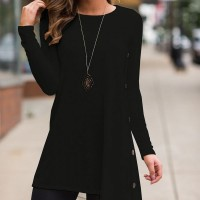 Button Up Long Sleeves Straight Irregular Top - Black