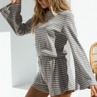 Waist String Striped Printed Long Sleeves Mini Romper Dress - Gray