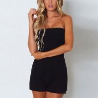 Bandeau Style Solid Color Fashion Mini Romper Dress - Black