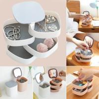 Four Layer Rotating Jewelry Organizer Storage Box With Mirror - White